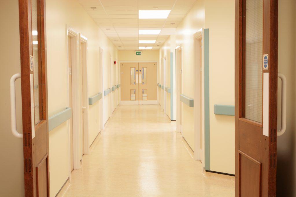 hospital corridor showing open fire doors